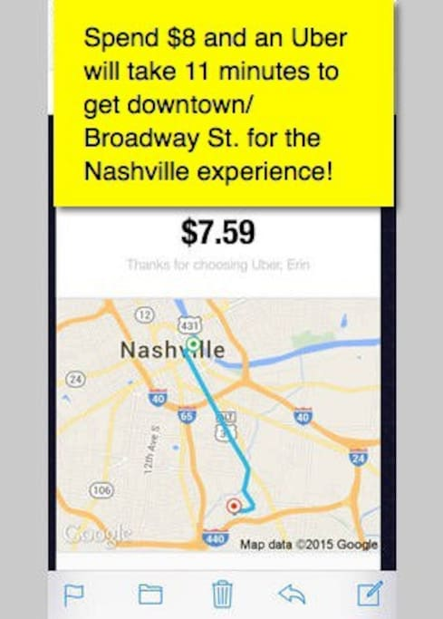Cheap ride using Uber or Lyft app service to downtown: Honkytonk bars and live music Nashville experience prime area, Museums, Shops, Titans football stadium, Bridgestone Arena for hockey and concerts, etc!