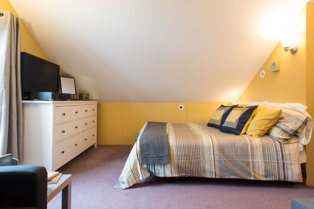 Bedroom includes a very comfortable queen bed, a twin sofa bed and a full sofa bed.  Extra large closet, TV and bureau.