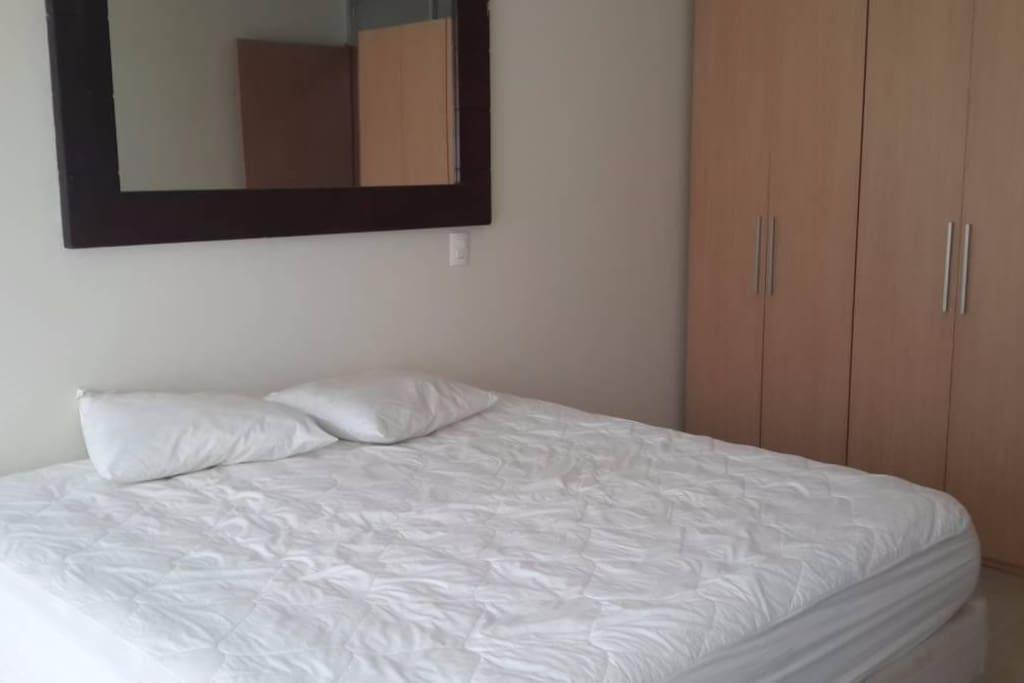 Recamara independiente con cama king zize, closet y balcon