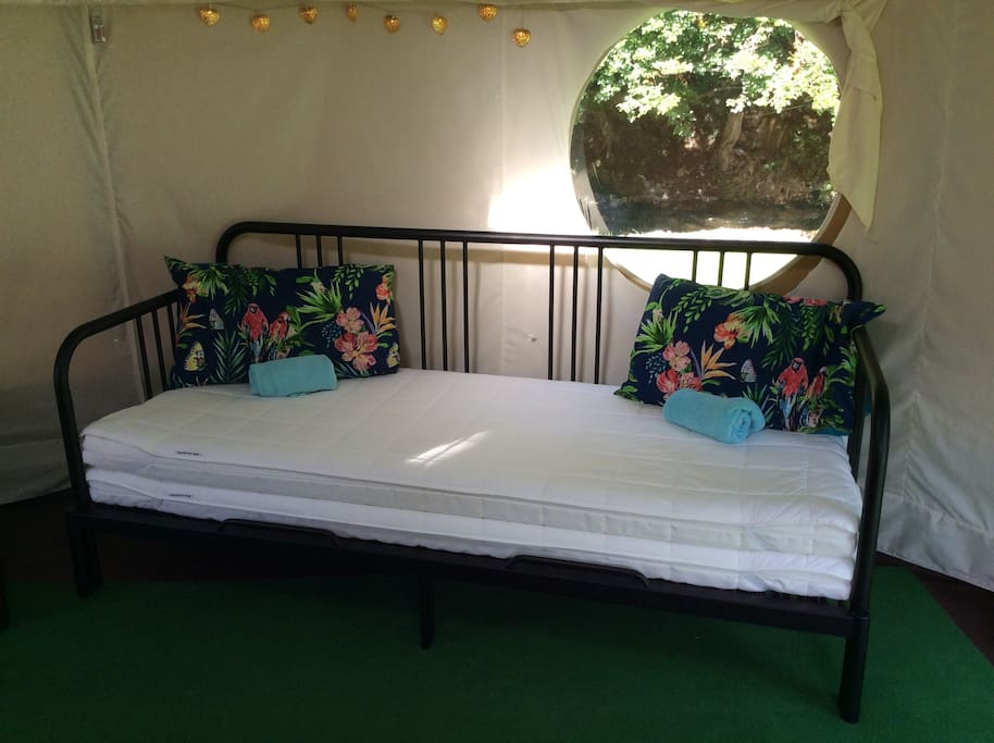 This day bed pulls out into a roomy double bed.