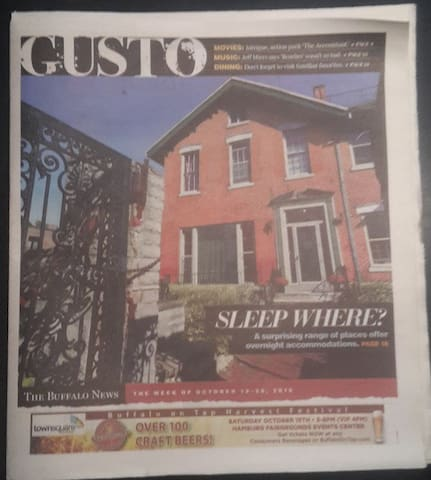 We were featured on the cover of the Buffalo News Gusto section, October of 2016.  We were named one of the unique places to stay in Buffalo!