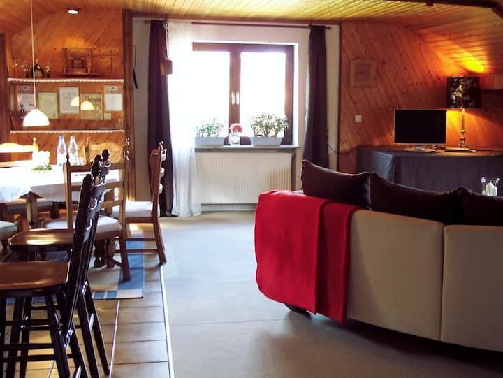 Ferienwohnung Patricia Schipper (Gemünden), Ferienwohnung (70qm) mit Garten & Blick in die Ferne