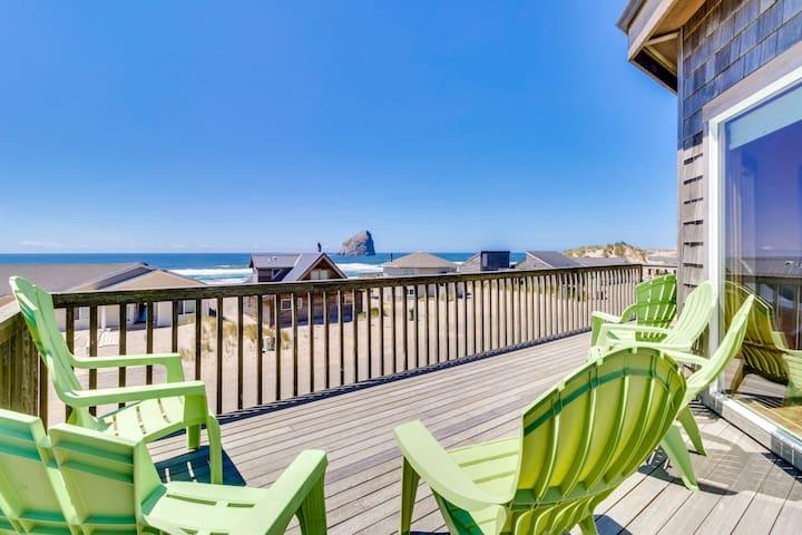 Dog-friendly house w/ ocean views, hot tub, arcade machine, & easy beach access!
