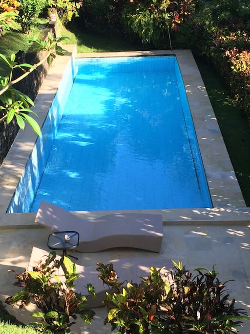 """Pool 3.5X13 meters. """"Infant bench"""" at 1 end for sitting in 10 cm water..."""