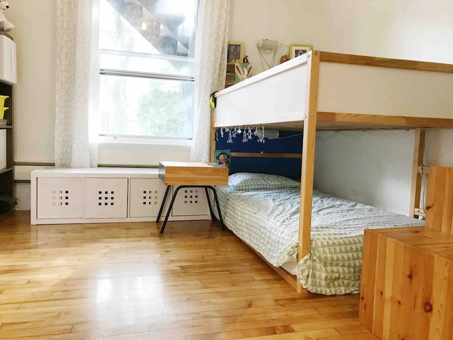 ***Same bedroom as parents, saparated by curtains: Kids bedroom 2 twin beds.  Parents:  queen size bed.