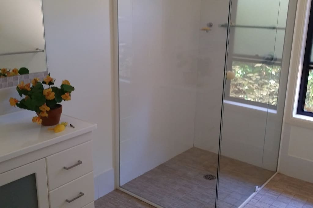 Spacious bathroom with good shower pressure