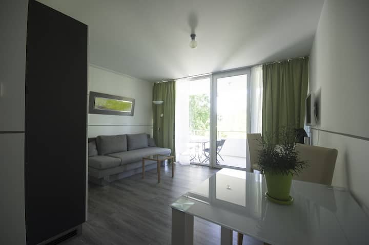 "Modern Apartment 5 in Apartment House ""Aach Apart"" in Quiet Area near Lake Constance with Wi-Fi & Balcony; Parking Available"
