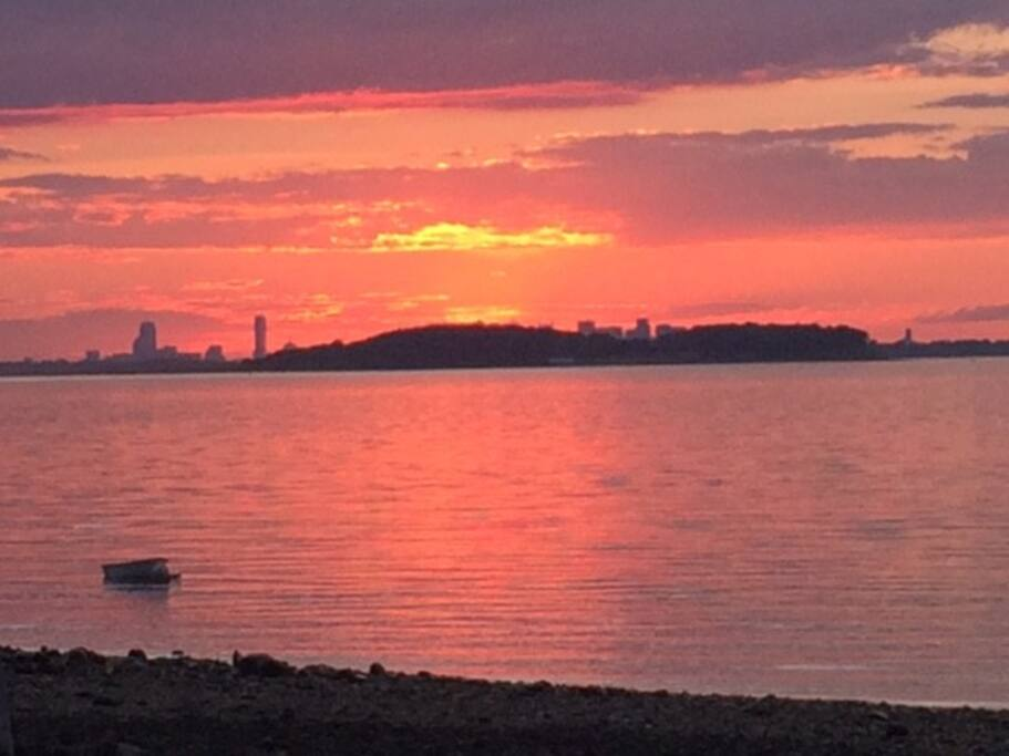 Your View of Sunset with Boston skyline