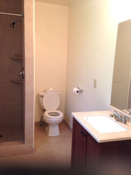 Bathroom is stocked with bath towels and organic amenities.