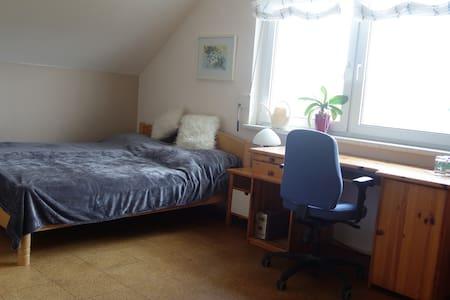 Gästezimmer mit Bad und Bergblick