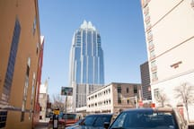 The Frost Tower in downtown Austin