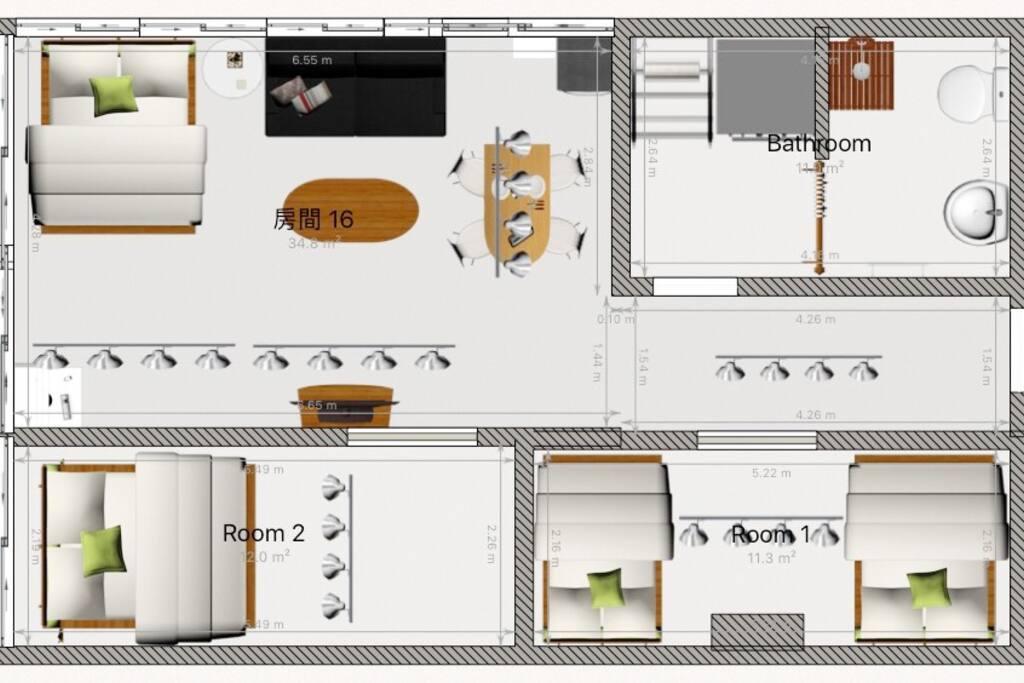 房內格局平面圖參考。