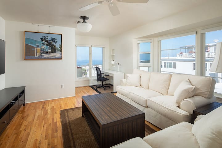 Comfortably, inviting living room, ready for lounging after a day at the beach.
