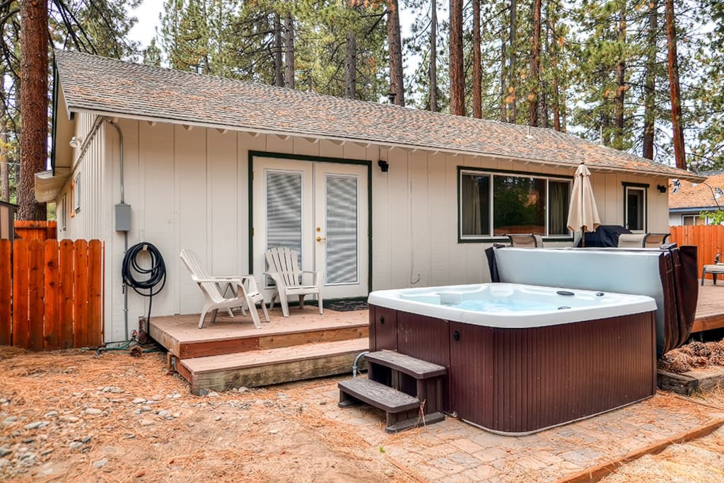 Soak all your cares away in the luxurious hot tub