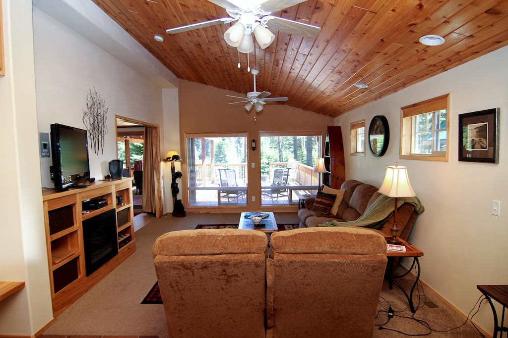 With the largest living room, this cabin is great for an evening in with the family.