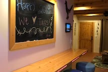 We want to see your artistic side on the chalkboard over the breakfast bar!