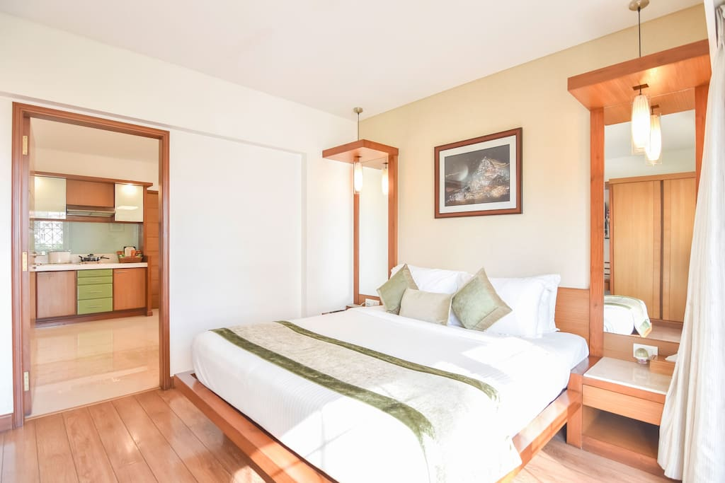Double bed with ample natural light