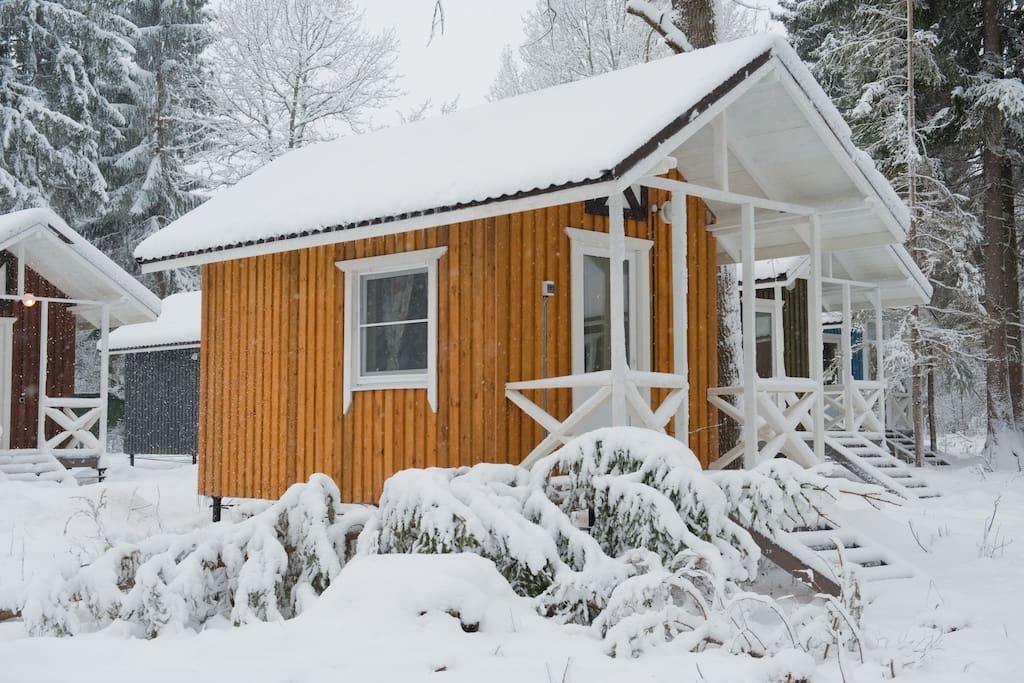 Домики для проживания у озера