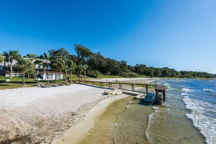 Family Lakefront Home w/ Private Beach and Sunsets