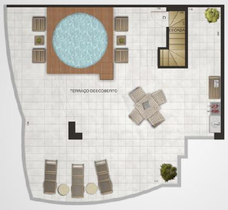 planta da área da piscina