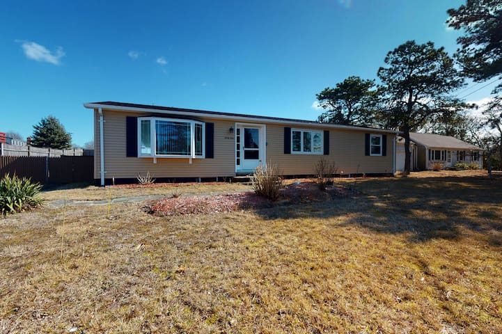 Bright & nautical beach home with enclosed yard & outdoor shower - walk to beach