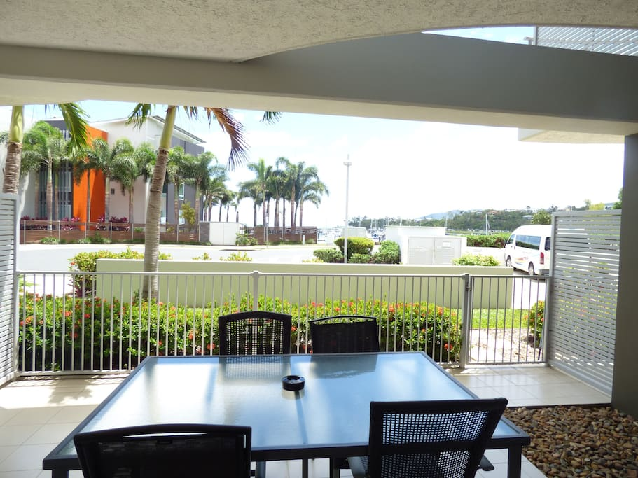 Outdoor patio with Marina and sea view and bbq