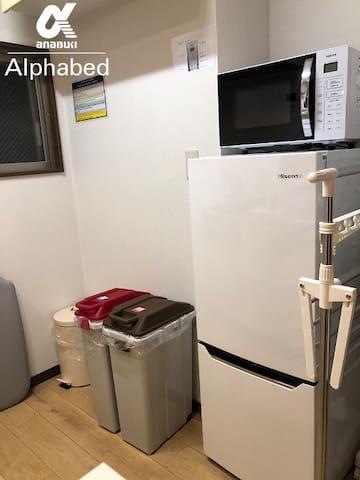 冷蔵庫はご自由にお使いください。ごみ箱もご用意しています。