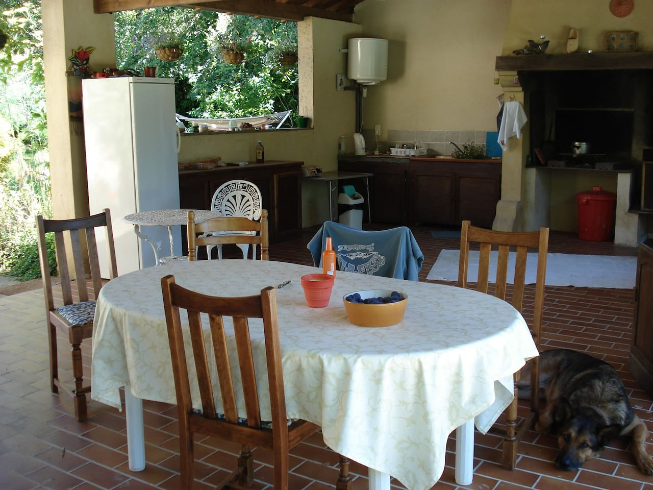 View of summer kitchen, good for eating out on hot sunny days.