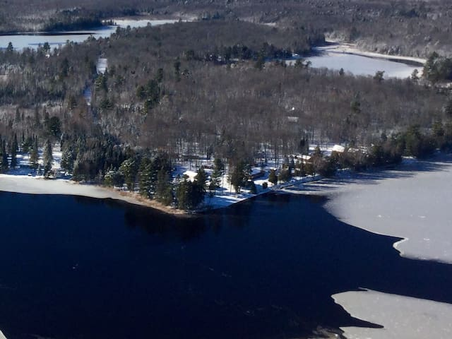 Musky Point from the air.  Winter is beautiful in northern Wisconsin.  Snowmobiling, cross country skiing right on the lake, right on the trail.  We are located in the Wisconsin snow belt.  1/2 hour away from excellent downhill skiing.