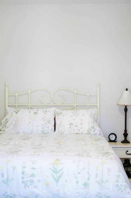 The Sage Room has a queen-sized bed.