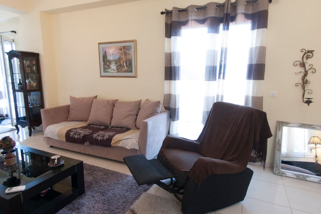 Bright common space - Living room with coach,sofa bed and lazy boy