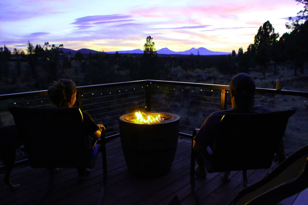 Enjoying the view of the Cascades from the back deck.
