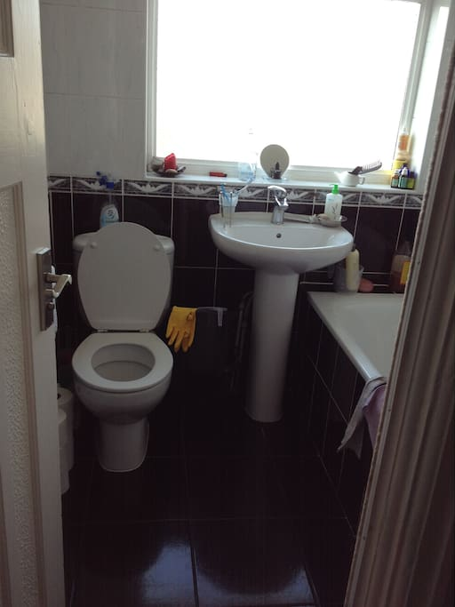 The communal bathroom, shower and toilet