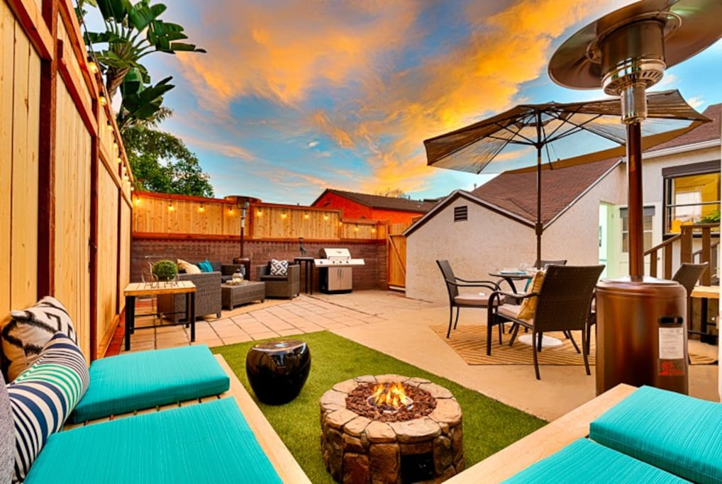 Beautiful new backyard with firepit and bar-b-que.