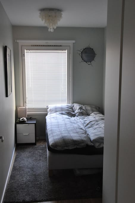 The room with a bed 2mx1,2m