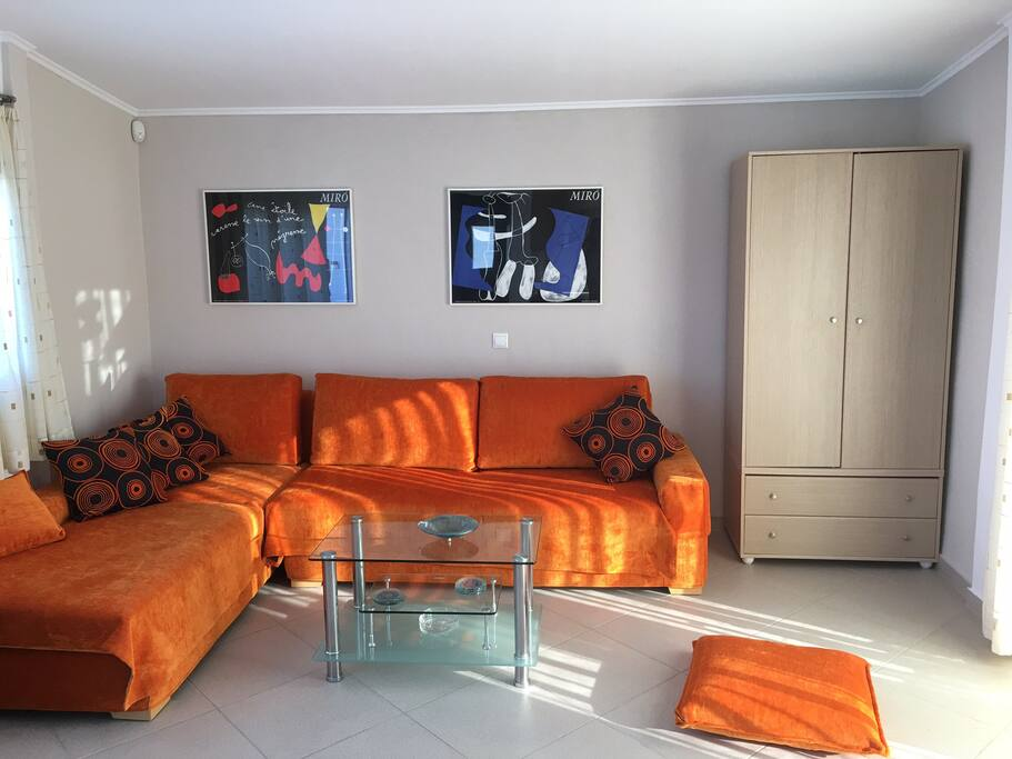 The orange glow of a living room
