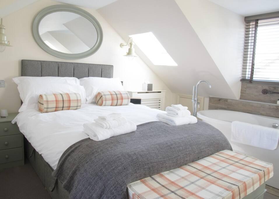 Top double bedroom with freestanding bath