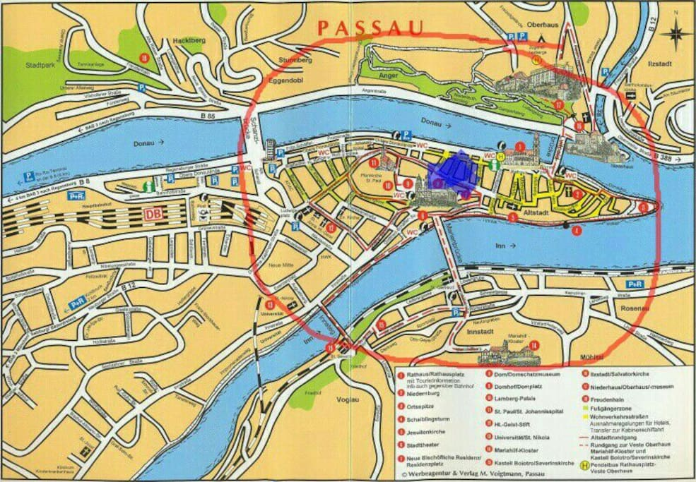 All the sights in Passau are located in the area of the red circle. The apt. is in the middle, where the Blue Point is.  ...Careful: no sights outside that area!