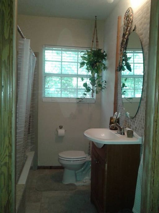 Tropical style bathroom with shower/tub combination.