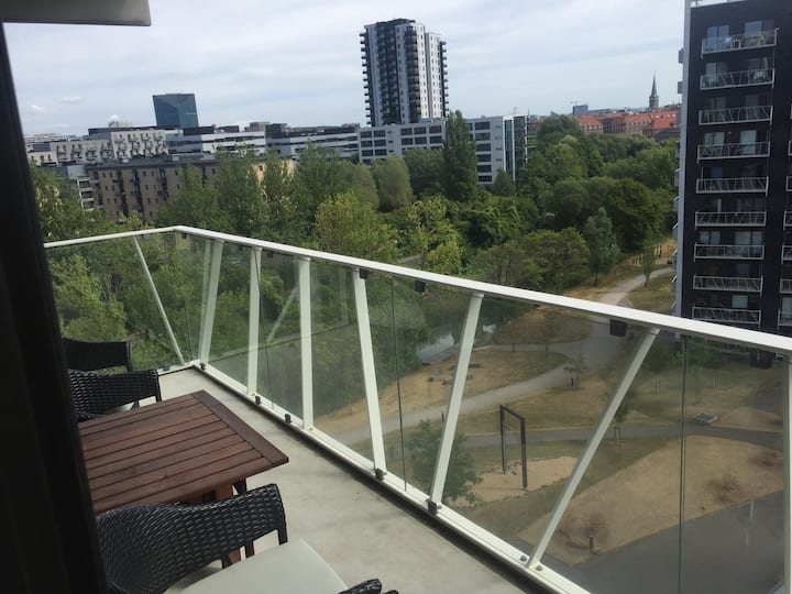Bright and new 2-room apartment near city center.