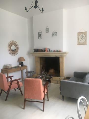 Salon séjour avec coin cuisine aménagé