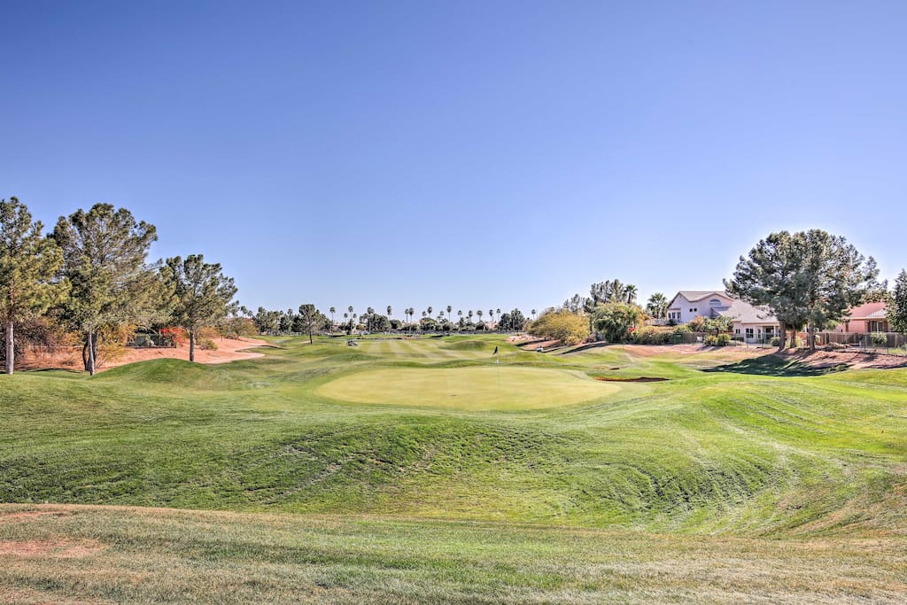 The home is nestled on the Kokopelli Golf Course.