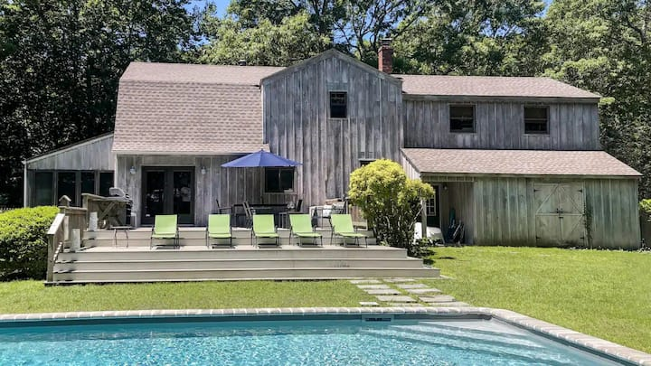 New Listing: Rustic Hamptons Retreat w/ Private Pool, Serene Setting, Barn Style House with Open Floor Plan