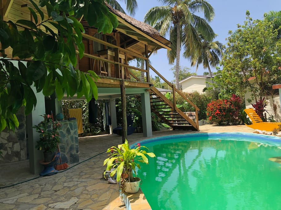 Villa Buen Hombre tropical guesthouse in the lush garden with beautiful pool and BBQ! take advantage of our amazing offers to learn kitesurfing in the best locations in the Dominican Republic- the flat water paradise Buen Hombre and famous Cabarete