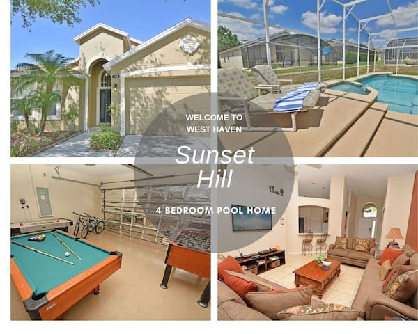 Pool Home With Spa & Games Room in Gated Community Close to Theme Parks (140RD)