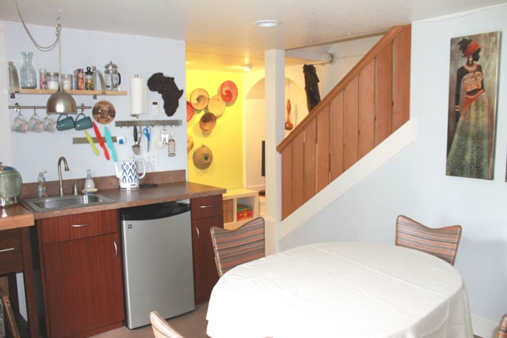 Private entry, dining space, tv nook, kitchenette, laundry, and 2 bedrooms.