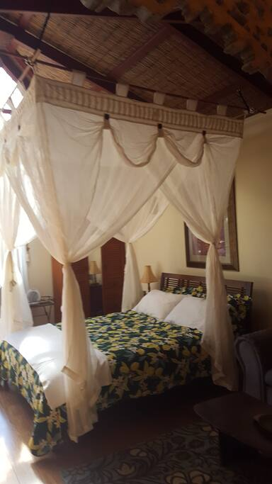Queen Size Bed. with mosquito net.