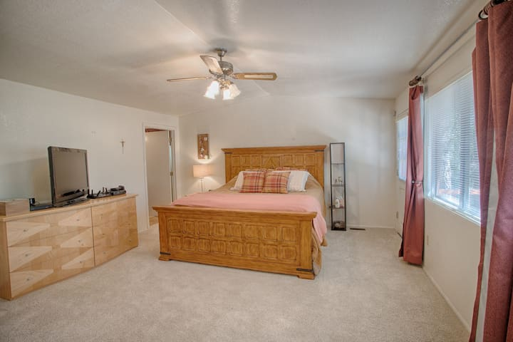 Master Bedroom has private bathroom with bath and shower and a private access deck