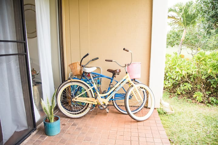 We offer two beach cruisers for you to ride around the property and resort, or through the many bike trails located around Turtle Bay.