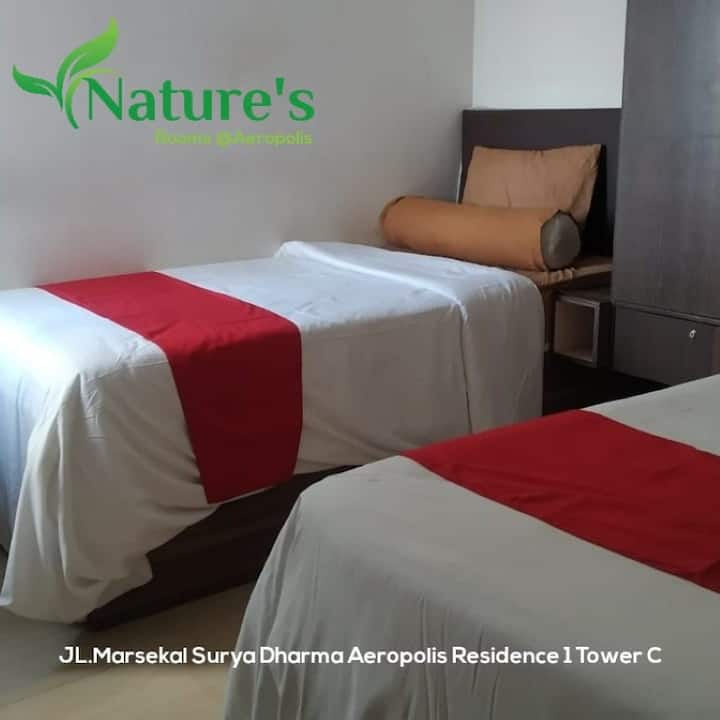 Nice Studio Twin Room at Nature's Room @ Aeropolis